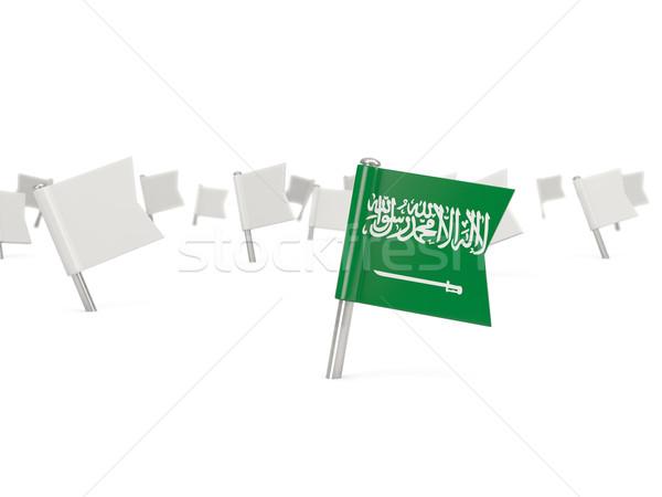 Praça pin bandeira Arábia Saudita isolado branco Foto stock © MikhailMishchenko