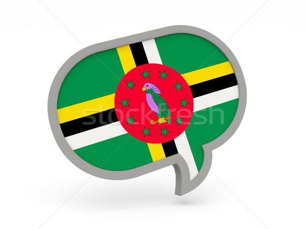 Stockfoto: Chat · icon · vlag · Dominica · geïsoleerd · witte