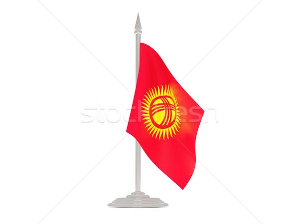 Vlag Kirgizië vlaggestok 3d render geïsoleerd witte Stockfoto © MikhailMishchenko