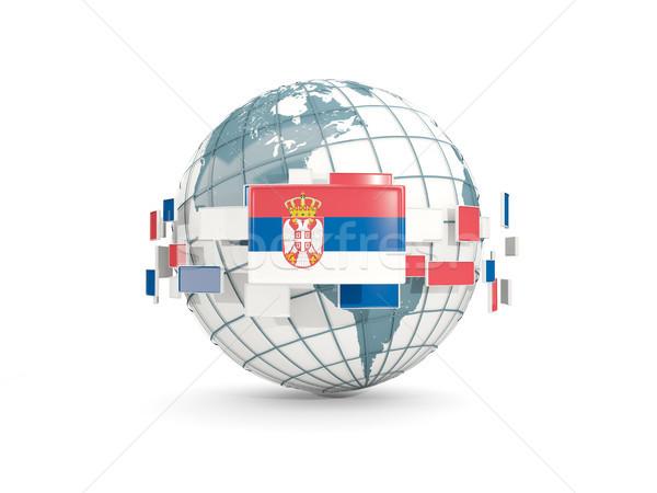 Dünya bayrak yalıtılmış beyaz 3d illustration gezegen Stok fotoğraf © MikhailMishchenko