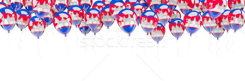 Balões quadro bandeira Camboja isolado branco Foto stock © MikhailMishchenko