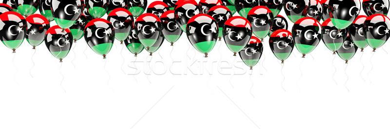Balony ramki banderą Libia odizolowany biały Zdjęcia stock © MikhailMishchenko