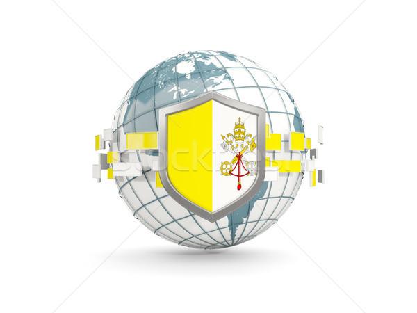 Mondo scudo bandiera Città del Vaticano isolato bianco Foto d'archivio © MikhailMishchenko