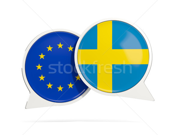 Chat bubbles of EU and Sweden isolated on white Stock photo © MikhailMishchenko