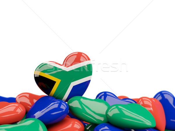 Coração bandeira África do Sul topo corações isolado Foto stock © MikhailMishchenko