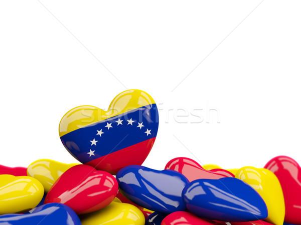 Szív zászló Venezuela felső szívek izolált Stock fotó © MikhailMishchenko