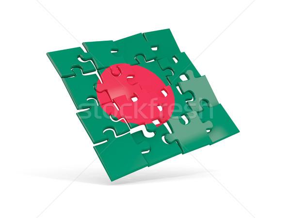 Bilmece bayrak Bangladeş yalıtılmış beyaz 3d illustration Stok fotoğraf © MikhailMishchenko
