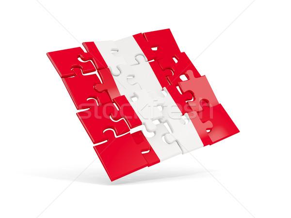 Quebra-cabeça bandeira Peru isolado branco ilustração 3d Foto stock © MikhailMishchenko