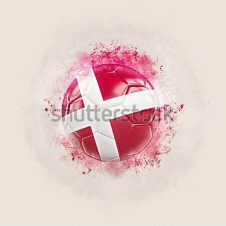 Foto stock: Futebol · chamas · bandeira · Dinamarca · preto · ilustração · 3d
