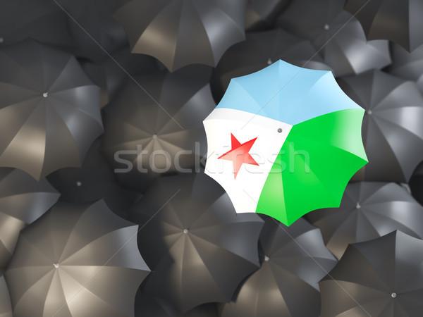 Parasol banderą Dżibuti górę czarny parasole Zdjęcia stock © MikhailMishchenko