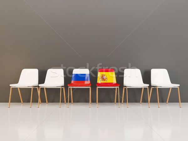 Chairs with flag of Russia and spain Stock photo © MikhailMishchenko
