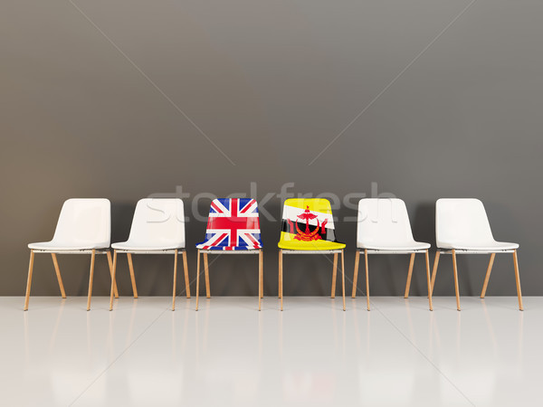 Chairs with flag of United Kingdom and brunei Stock photo © MikhailMishchenko