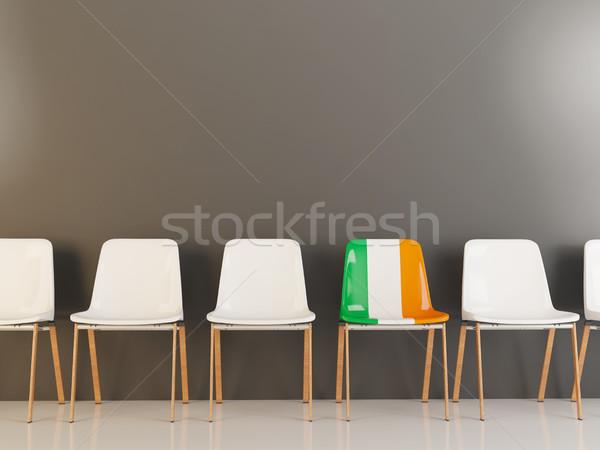 Stoel vlag Ierland rij witte stoelen Stockfoto © MikhailMishchenko