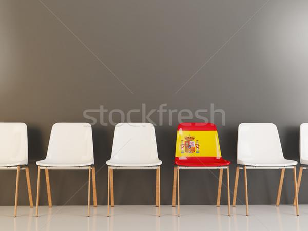 Sandalye bayrak İspanya beyaz sandalye Stok fotoğraf © MikhailMishchenko