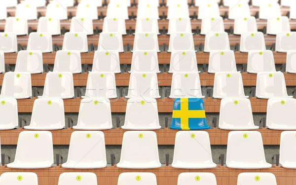 Stadion zitting vlag Zweden rij witte Stockfoto © MikhailMishchenko