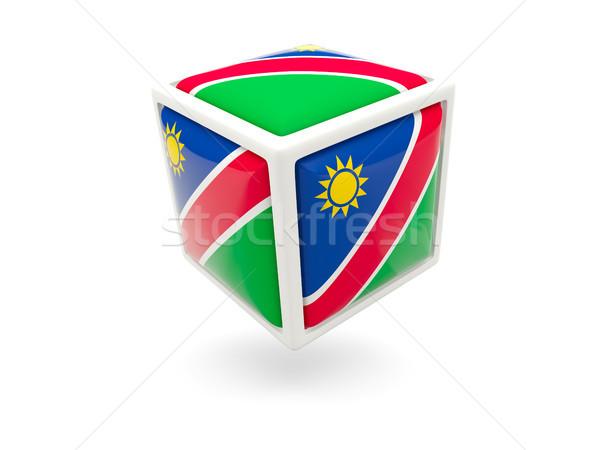 Zászló Namíbia kocka ikon izolált fehér Stock fotó © MikhailMishchenko