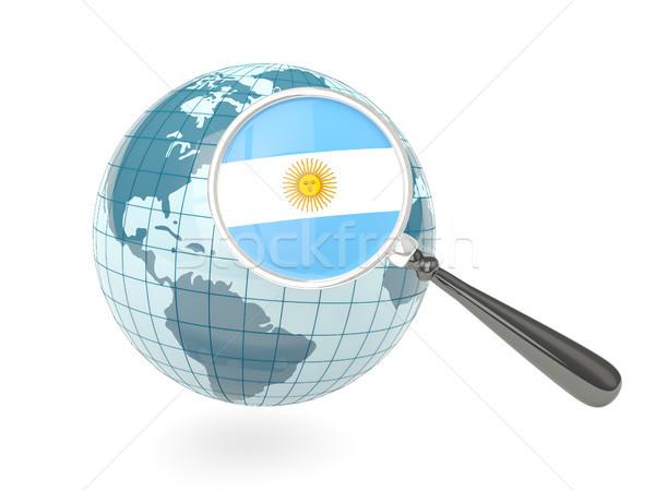 拡大された フラグ アルゼンチン 青 世界中 孤立した ストックフォト © MikhailMishchenko