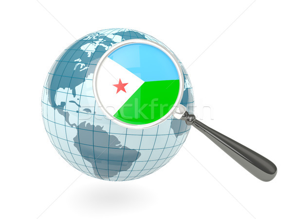 Magnified flag of djibouti with blue globe Stock photo © MikhailMishchenko