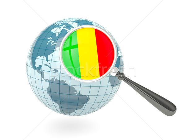 Banderą Mali niebieski świecie odizolowany Zdjęcia stock © MikhailMishchenko