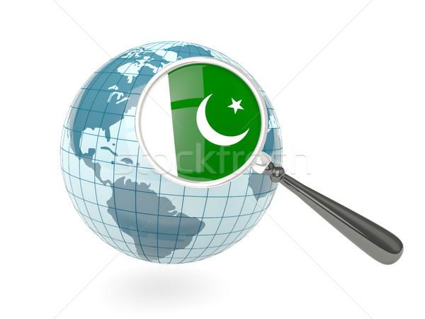 Vlag Pakistan Blauw wereldbol geïsoleerd Stockfoto © MikhailMishchenko