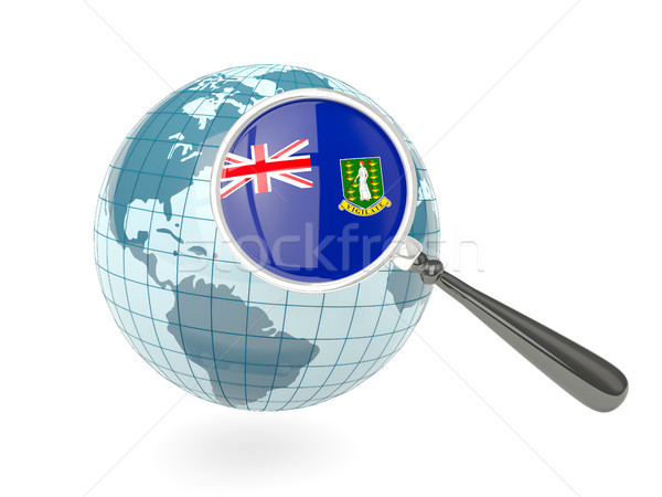 Magnified flag of virgin islands british with blue globe Stock photo © MikhailMishchenko