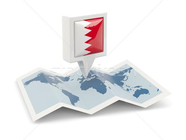 Praça pin bandeira Bahrein mapa viajar Foto stock © MikhailMishchenko