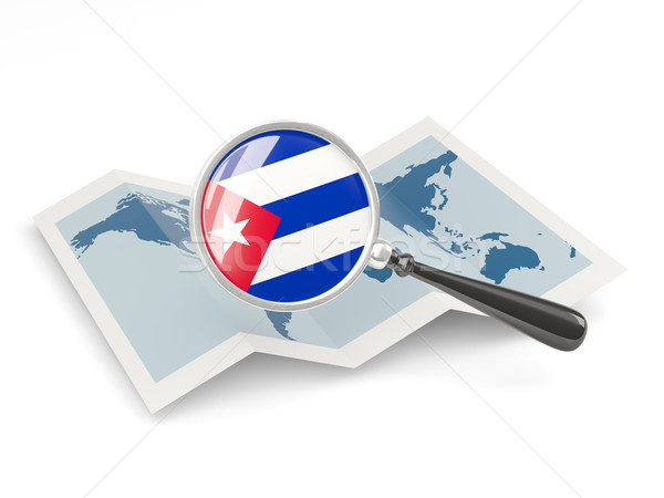 Magnified flag of cuba with map Stock photo © MikhailMishchenko