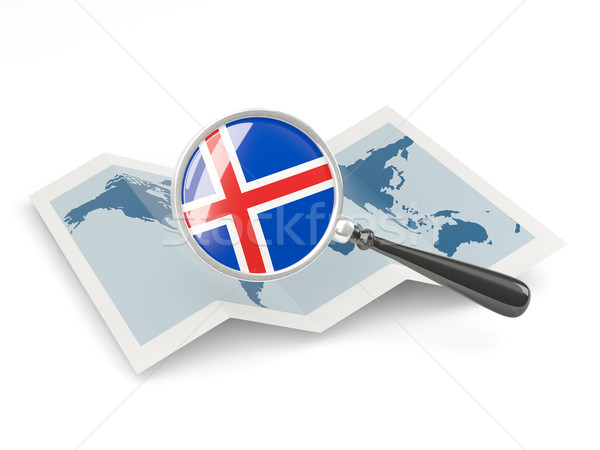 Magnified flag of iceland with map Stock photo © MikhailMishchenko