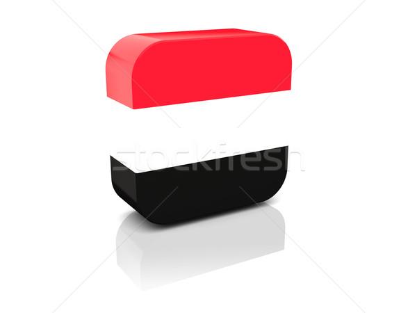 Praça ícone bandeira Iémen reflexão branco Foto stock © MikhailMishchenko