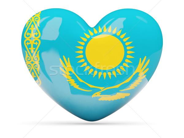 Herz Symbol Flagge Kasachstan isoliert Stock foto © MikhailMishchenko