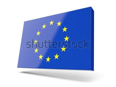 Square icon with flag of european union Stock photo © MikhailMishchenko
