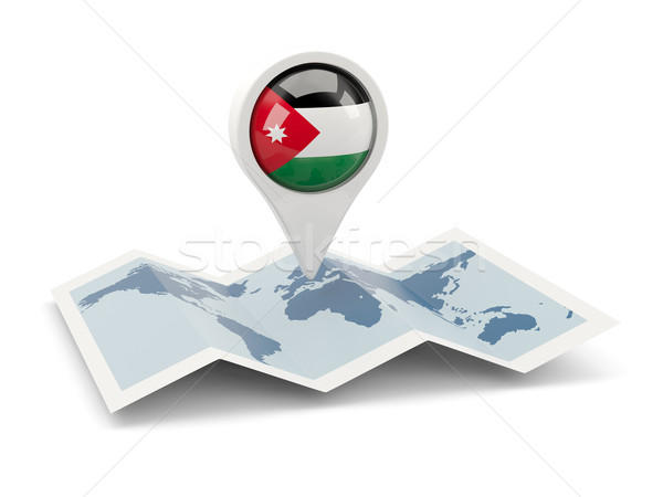 Pin banderą Jordania Pokaż podróży biały Zdjęcia stock © MikhailMishchenko