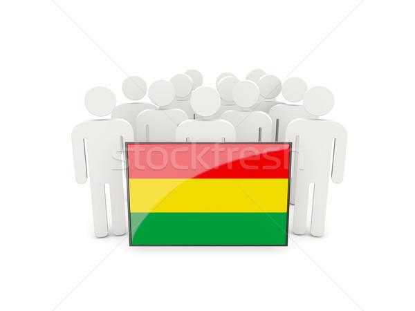 Emberek zászló Bolívia izolált fehér tömeg Stock fotó © MikhailMishchenko