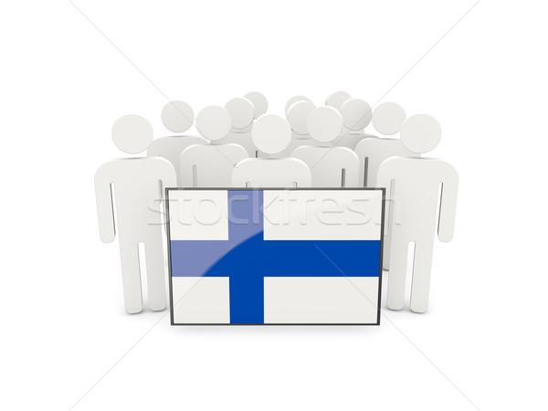 люди флаг Финляндия изолированный белый толпа Сток-фото © MikhailMishchenko