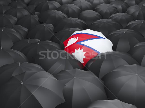 зонтик флаг Непал черный путешествия Сток-фото © MikhailMishchenko