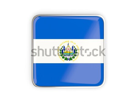 Square sticker with flag of el salvador Stock photo © MikhailMishchenko