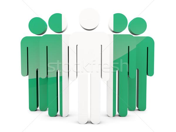 Pessoas bandeira Nigéria isolado branco multidão Foto stock © MikhailMishchenko