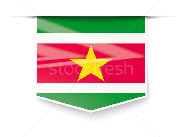 квадратный Label флаг Суринам изолированный белый Сток-фото © MikhailMishchenko