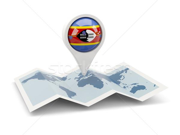 Pin banderą Suazi Pokaż podróży biały Zdjęcia stock © MikhailMishchenko
