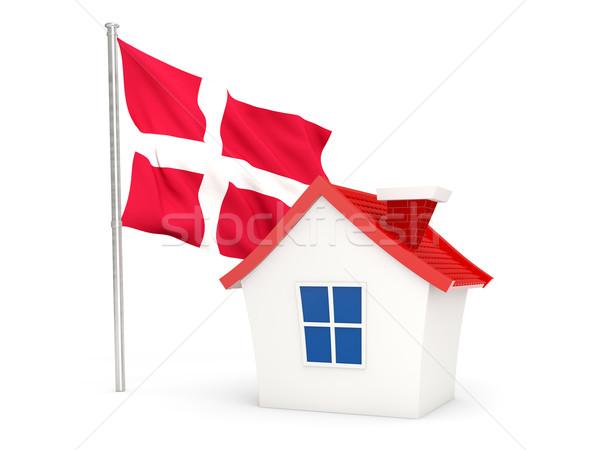 Casa bandeira Dinamarca isolado branco casa Foto stock © MikhailMishchenko