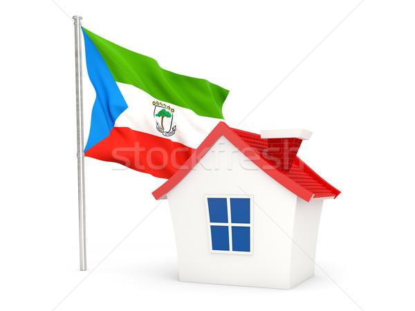 Casa bandeira Guiné Equatorial isolado branco casa Foto stock © MikhailMishchenko