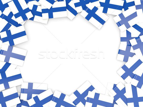 Frame vlag Finland geïsoleerd witte Stockfoto © MikhailMishchenko