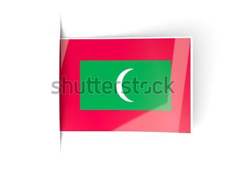 Kare ikon bayrak Maldivler yalıtılmış beyaz Stok fotoğraf © MikhailMishchenko