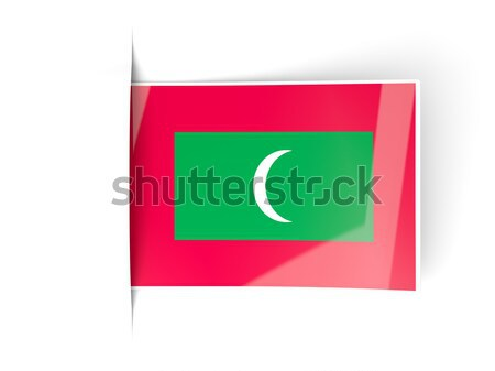Foto stock: Praça · ícone · bandeira · Maldivas · isolado · branco