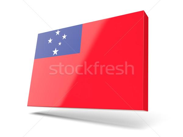 Vierkante icon vlag Samoa geïsoleerd witte Stockfoto © MikhailMishchenko