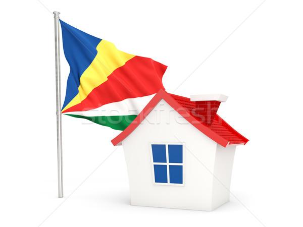 Ház zászló Seychelle-szigetek izolált fehér otthon Stock fotó © MikhailMishchenko