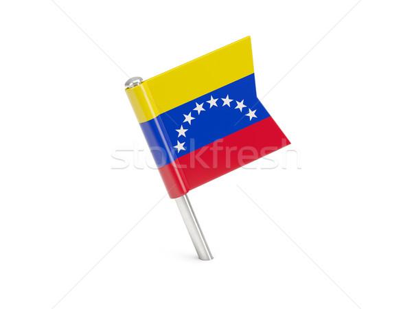 Bandeira pin Venezuela isolado branco viajar Foto stock © MikhailMishchenko