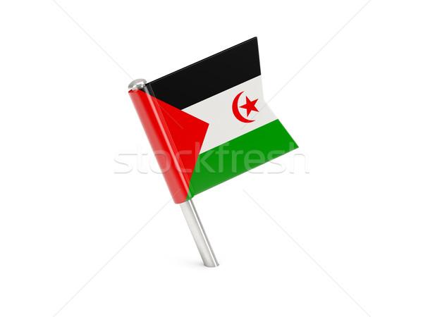 Stock fotó: Zászló · tő · western · Szahara · izolált · fehér