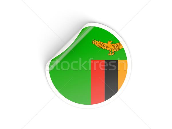 Etiket bayrak Zambiya yalıtılmış beyaz seyahat Stok fotoğraf © MikhailMishchenko