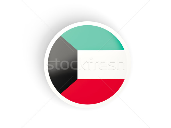 Adesivo bandeira Kuweit isolado branco viajar Foto stock © MikhailMishchenko